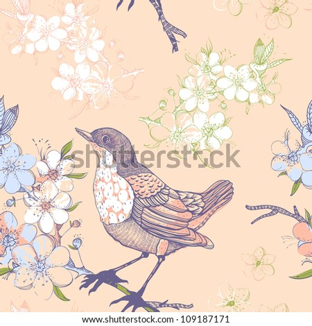 vector floral seamless pattern with birds and blooming apple tree - stock vector
