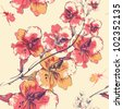 vector floral seamless pattern with blooming flowers and colorful beetles - stock