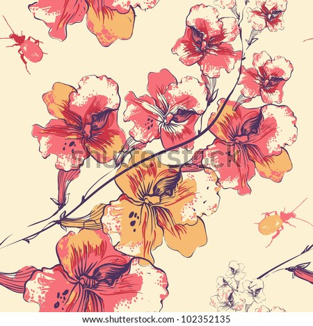 vector floral seamless pattern with blooming flowers and colorful beetles - stock vector