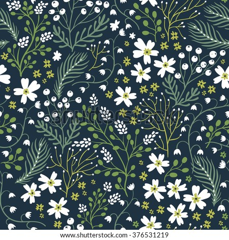 vector floral seamless pattern with blooming flowers and herbs