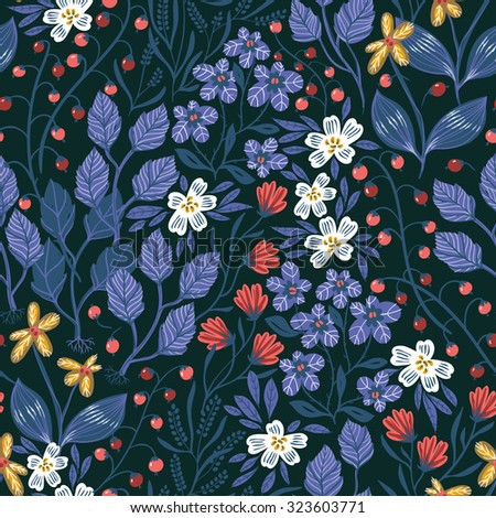 vector floral seamless pattern with blooming flowers and herbs on a dark background
