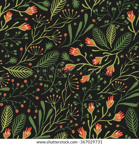 vector floral seamless pattern with blooming herbs and berries on a dark background