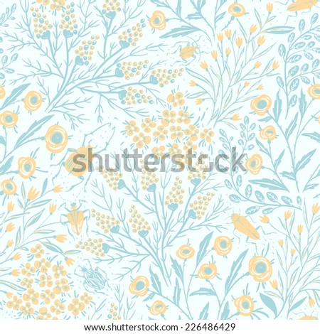 vector floral seamless pattern with blooms and bugs - stock vector