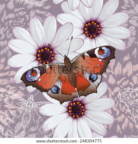 Vector floral seamless pattern with butterflies and flowers - stock vector