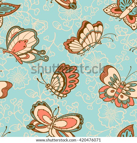 Vector floral seamless pattern with butterflies characters in cartoon style