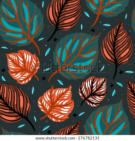 vector floral seamless pattern with colored abstract leaves - stock vector