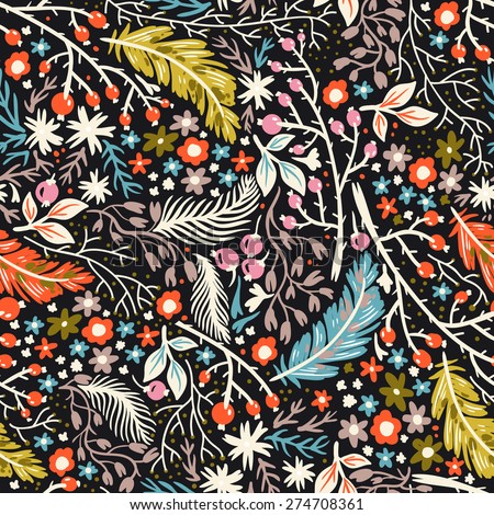 vector floral seamless pattern with colorful berries, feathers and flowers - stock vector