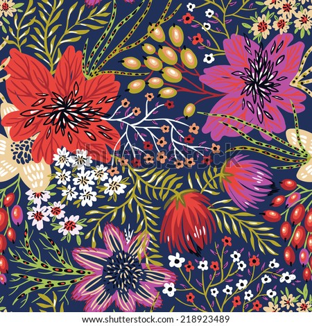 vector floral seamless pattern with colorful exotic blooms - stock vector