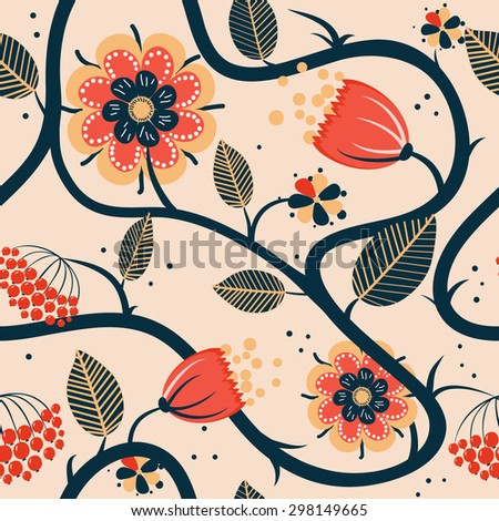 Vector floral seamless pattern with fantasy folk curly flowers on light background
