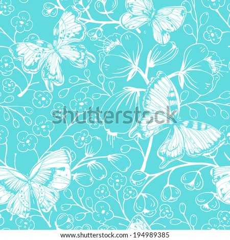 vector floral seamless pattern with flowers and butterflies on a bright blue background