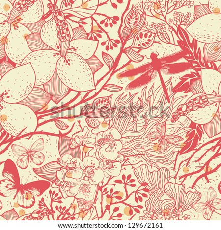 vector floral seamless pattern with flowers, butterflies and dragonflies - stock vector