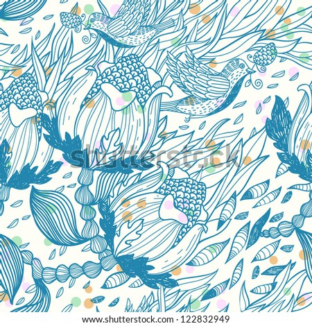 vector floral seamless pattern with flying birds and abstract plants