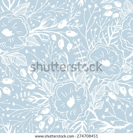 vector floral seamless pattern with hand drawn vintage flowers - stock vector