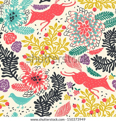 vector floral seamless pattern with hunting red foxes - stock vector