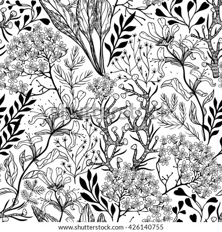 vector floral seamless pattern with linear hand drawn herbs and plants