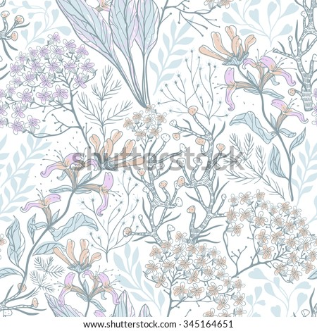 vector floral seamless pattern with pastel hand drawn plants and herbs - stock vector