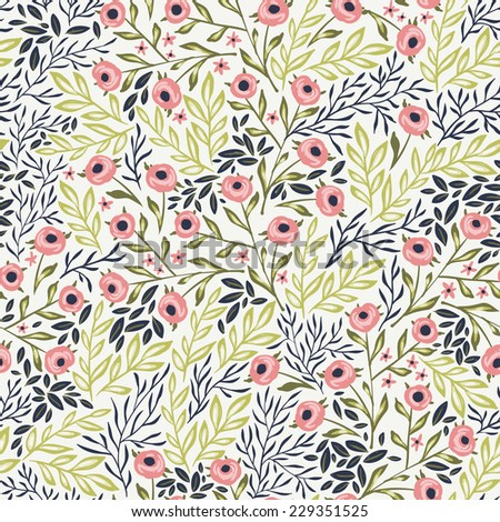 vector floral seamless pattern with pastel roses and leaves - stock vector