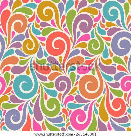 Vector floral seamless pattern with swirl shapes. Color background. Decorative illustration for print, web - stock vector