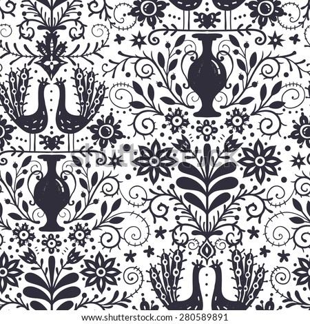 vector floral seamless pattern with vintage flowers, peacocks and vases - stock vector