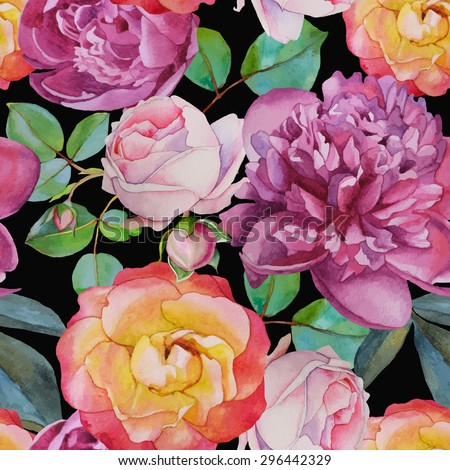 Vector floral seamless pattern with watercolor roses and peonies. Background with bouquets of hand-drawn watercolor flowers  - stock vector
