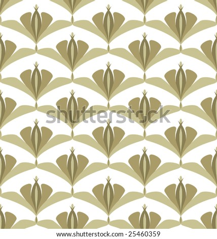 Vector Floral Seamless Seventies Style Inspired Wallpaper - stock vector