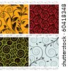 Vector floral seamless wallpaper set. Easy edit colors. - stock vector