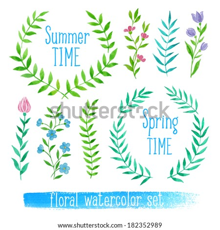 Vector floral set. Colorful collection with leaves and flowers, drawing watercolor. Spring or summer design - stock vector