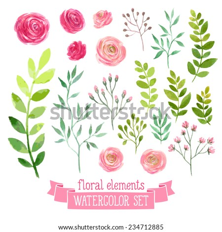 Flower stock images royalty free images vectors shutterstock vector floral set colorful floral collection with leaves and flowers drawing watercolor spring ccuart Image collections
