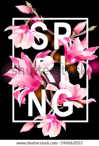 Vector Floral Spring Greeting Card, Vintage Flowers Bouquet, Magnolia, botanical illustration on black background,