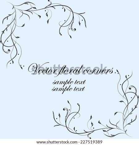 Vector floral swirly decorative corners for greeting cards, invitations etc. - stock vector