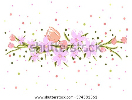 Vector floral template for romantic and wedding design. Design element for paper and textile design. Tulips, dots.