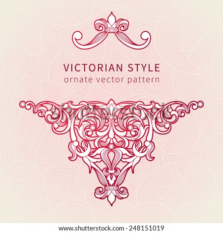 Vector floral vignette in Eastern style. Ornate element for romantic design, place for text. Ornamental vintage illustration for wedding invitations, greeting cards. Decor for Valentines day's card  - stock vector