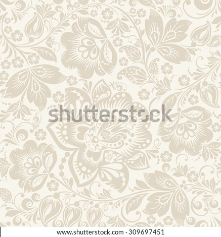 Vector Floral vintage rustic seamless pattern. Background can be used for wallpaper, fills, web page, surface textures. - stock vector