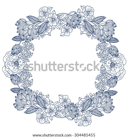 vector floral wreath with hand drawn linear flowers, plants and berries - stock vector