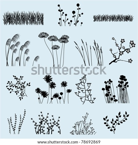 Vector Flower and Grass Silhouettes - stock vector