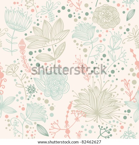 vector flower and Leaf retro Pattern - stock vector