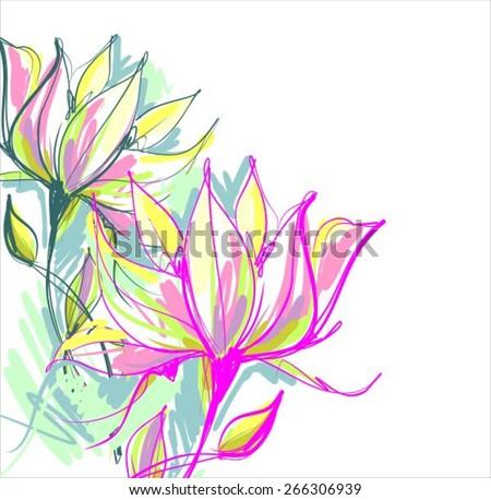 VECTOR Flower background for design, - stock vector