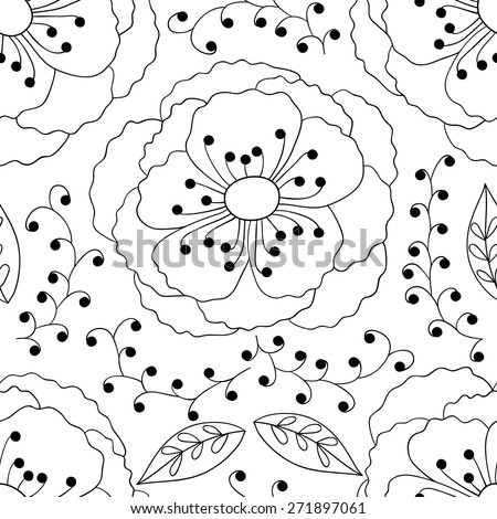 Vector flower doodle seamless pattern. Black and white outline background. - stock vector
