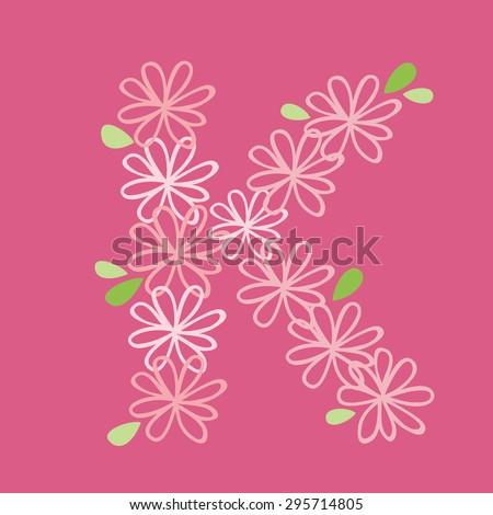 vector flower font, capital Alphabet Letter K - stock vector