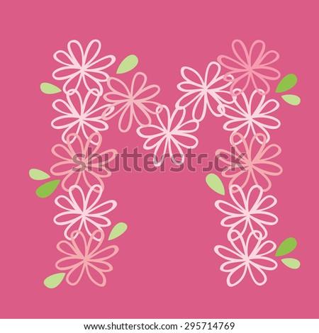 vector flower font, capital Alphabet Letter M - stock vector