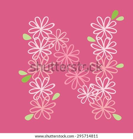 vector flower font, capital Alphabet Letter N - stock vector