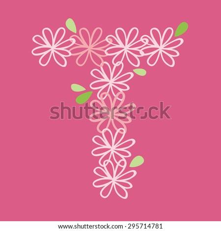 vector flower font, capital Alphabet Letter T - stock vector