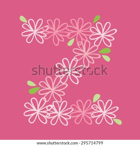 vector flower font, capital Alphabet Letter Z - stock vector