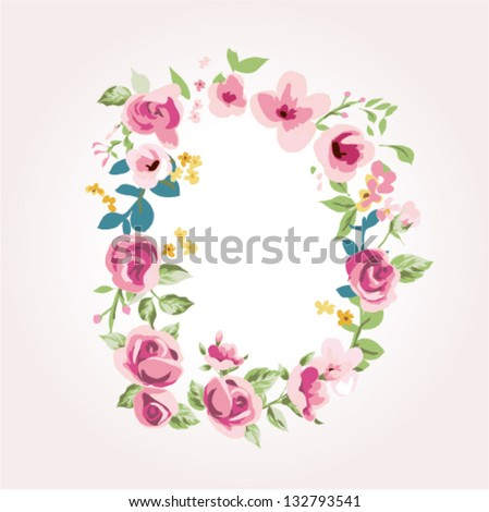 vector flower font,capital D - stock vector