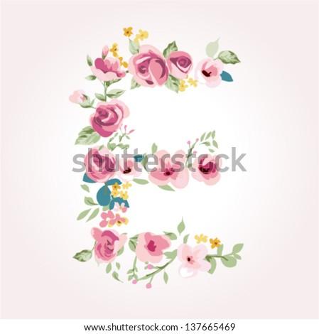 vector flower font,capital E - stock vector