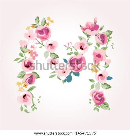vector flower font,capital M - stock vector