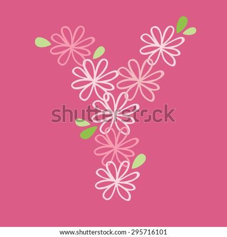 vector flower font, capital Y - stock vector
