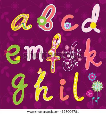 Vector flower font. Hand drawn alphabet.  - stock vector
