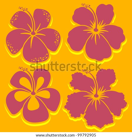 Vector Flower. Hibiscus Collection in red. Easy to edit. Perfect for invitations or announcements. In gallery also accessible variant in other colors. - stock vector