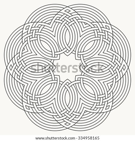 Vector flower knot, mandala vector, celtic motif, geometric ornament - stock vector